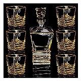 JIUYUE Decantador de Whisky Decantador de Vino Decantador de Whisky y Gafas fijó el Cristal del Vaso con 6 Vidrio de Cristal para los espíritus Bourbon o única Elegante Caja de Regalo Licorera