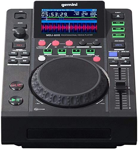 """Gemini Sound MDJ-600 Professional Audio DJ CD/CDR Media Player with 4.3"""" Inch Full Color Display Screen, 5"""" Jog Wheel and Programmable Hot Cues MIDI Controller Mixer Turntable"""