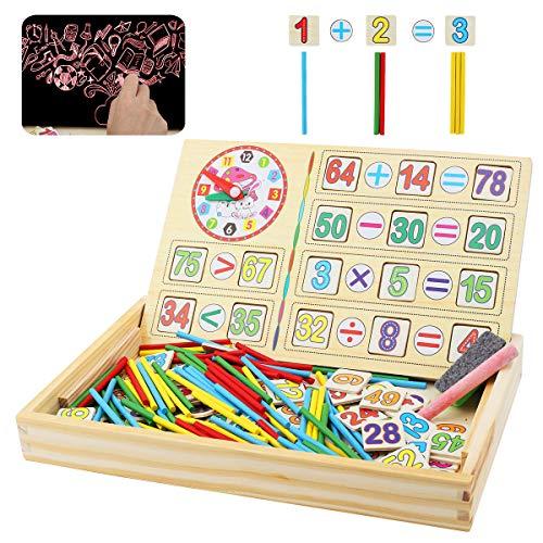 Herefun Montessori Mathe Spielzeug, Mathe Spielzeug Rechenstäbchen, Zählstäbchen Montessori, Mathematisches Spielzeug Holz, Zahlenlernspiel, Pädagogisches Mathe-Spielzeug für Kinder