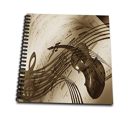 3drose DB 181116 1 afbeelding van abstract viool en noten in Sepia Tones tekenboekje, 20,3 x 20,3 cm