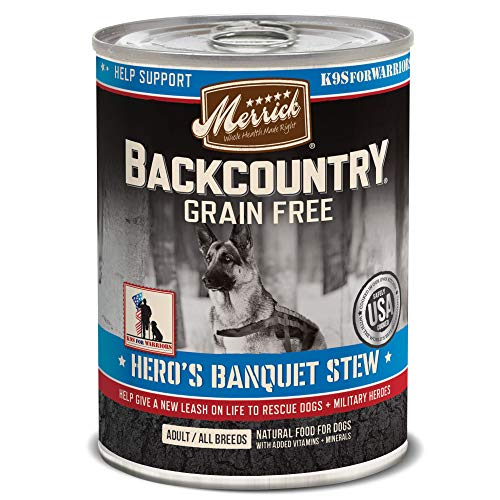Merrick Backcountry Grain Free Wet Dog Food Hero's Banquet Stew - 12.7 oz Can, Case of 12