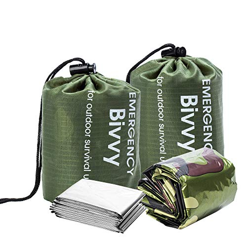 BesWlz Emergency Sleeping Bags, Survival Bivvy Sack Lightweight,Waterproof Portable Mylar Survival Gear for Outdoor Camping Hiking,Emergency Shelter (2Pack) Camouflage+ One Thermal Survival Blanket