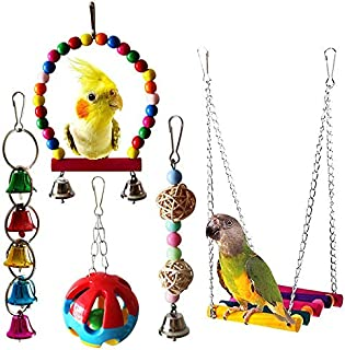 MQFORU 5pcs Bird Parrot Swing Toys with Hanging Bell Pet Bird Cage Hammock Swing Toy for Parakeets Cockatiels, Conures, Ma...