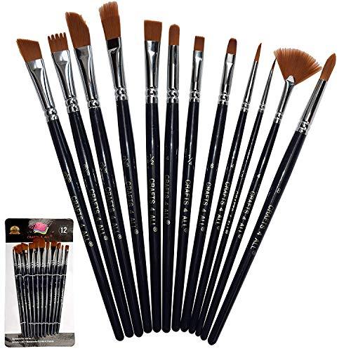 Crafts 4 ALL - Set de 12 pinceles profesionales de pintura, brocha redonda, de punta, detalle, pelo de nailon, pincel acrílico, artista acrílico, pincel para pintura acrílica, acuarela y óleo