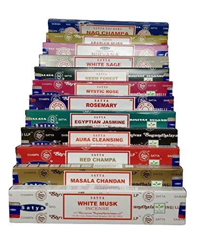 Satya Nag Champa and Sterling Effectz Combo Set of Incense Sticks and JR Incense Holder 12 Packs 15g, Multi Fragrances Set-JR10