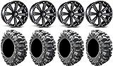 Bundle - 9 Items: MSA Black Kore 14' ATV Wheels 28' Bogger Tires [4x110 Bolt Pattern 10mmx1.25 Lug Kit]