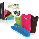 KATZOX Premium Katzenminze Kissen [4er Set] - Verbessertes Konzept 2020 - Innovatives Katzenspielzeug mit extra viel Katzen Minze - Schmusekissen Beschäftigung Spiel - Katzenkissen Kitten Spielzeug