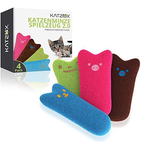 KATZOX© Premium Katzenminze Kissen [4er Set] - Verbessertes Konzept 2020 - Innovatives Katzenspielzeug mit extra viel Katzen Minze - Schmusekissen Beschäftigung Spiel - Katzenkissen Kitten Spielzeug