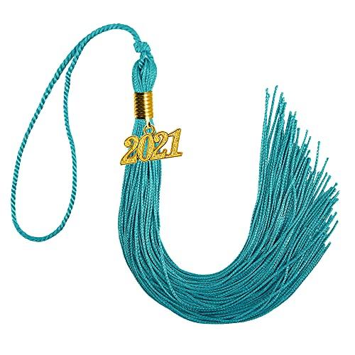 GraduationMall Borla de graduación de un solo color con abalorio de 2021 23 cm, color turquesa