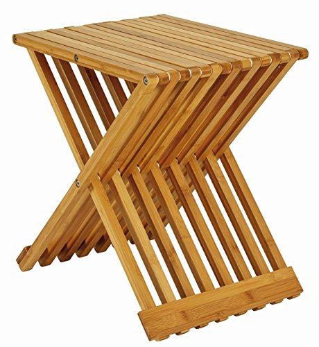 PEGANE Table d'appoint Pliante en Bambou Coloris Nature - Dim : L40 x P33 x H44 cm