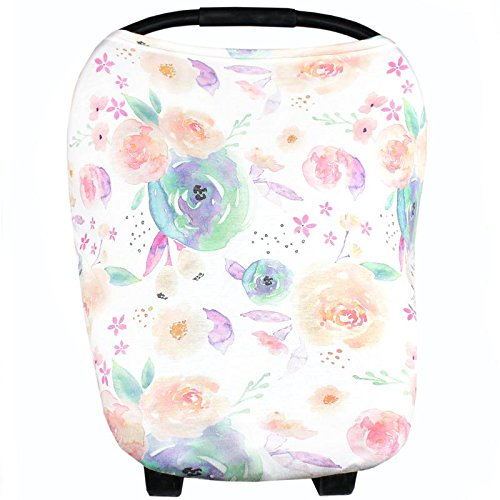 Baby Car Seat Cover Canopy and Nursing Cover Multi-Use Stretchy 5 in 1 Gift'Bloom' by Copper Pearl
