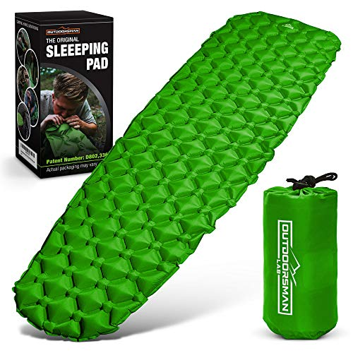 Outdoorsman Lab Sleeping Pad for Camping - Patented Camp Mat, Ultralight (14.5 Oz) - Best Compact Inflatable Air Mattress for Adults & Kids - Lightweight Hiking, Backpacking, Outdoor & Travel Gear