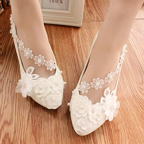 JINGXINSTORE Las mujeres hechas a mano Pretty Pearl blanco Lace Butterfly Bridal zapatos High Heels