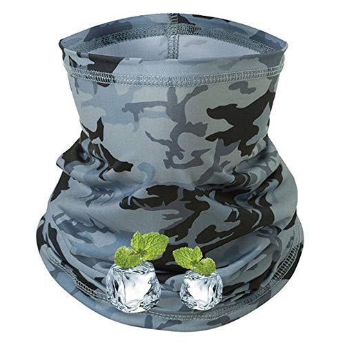 Peabownn [Cooling] -5℉ Summer Neck Gaiter Bandanas Headwear Camouflage Gray