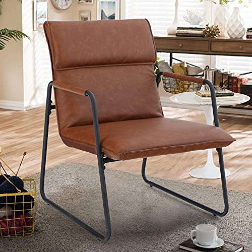 MAISON ARTS Accent Chair for Living Room Bedroom Comfy Reading Armchair Mid Century Modern Arm Chair Soft Upholstered Cozy Side Sofa Chair Relaxing Seating Sillas, 350LBS Bear Capacity, Brown