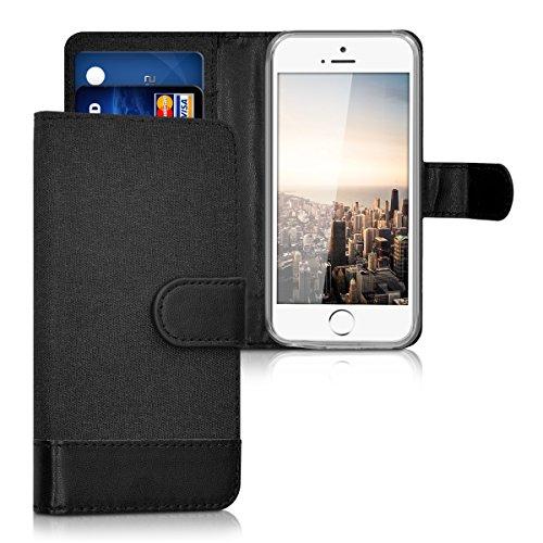 kwmobile Wallet Hülle kompatibel mit Apple iPhone SE (1.Gen 2016) / 5 / 5S - Hülle mit Ständer - Handyhülle Kartenfächer Anthrazit Schwarz