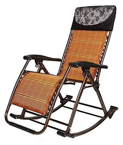 ZOUJIANGTAO Silla oscilante de jardín, Silla Plegable 160 Ajuste de Gran ángulo MAX Rodamiento de 180 kg con Respaldo para Oficina (Color : A, Size : 50x86x45cm)