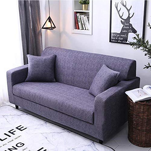 QJHDM Funda para Sofá 1 2 3 4 Plazas Púrpura Universal Antideslizante Elástica Extensible Fabric Protector Cubierta Cubre De Sofá Fundas 190-230Cm