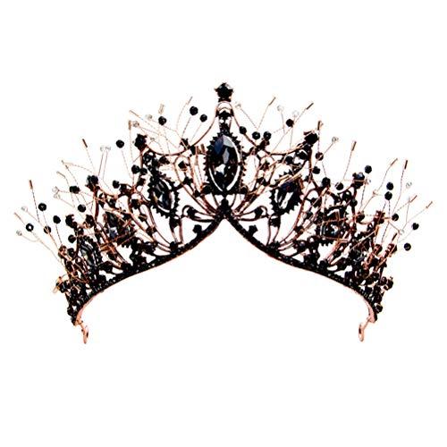 Lurrose 1pc barroco estilo nupcial corona headwear boda tocado bronce y negro