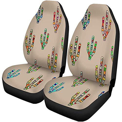 Beth-D set van 2 autostoelhoezen abstract kleurrijk mozaïek cactus digitaal op Pale Brown Mexican auto voorstoelen beschermbeslagen