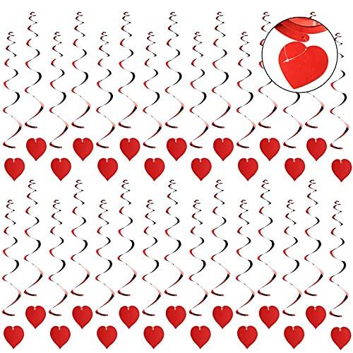 Hosh 30 Pezzi Ghirlanda a Spirale Decorazione, Appendere al Soffitto con Cuori, Ghirlanda da Appendere a Cuore per Matrimonio, per Decorazioni per Feste e Matrimoni(Rosso)