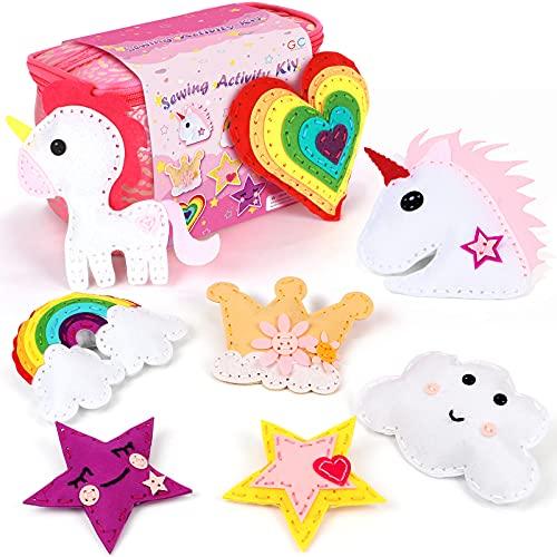 Tacobear Kit de Costura Niños Unicornio Costura Fieltro Manualidades Niños Cumpleaños Unicornio Creativo Regalo para...