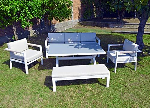 Scaramuzza Modo Salotto da Giardino in Alluminio Colore Bianco Divano 3 Posti + 2 Poltrone + Panca 3 posti + Tavolo 192x75 cm per Esterno Terrazzo