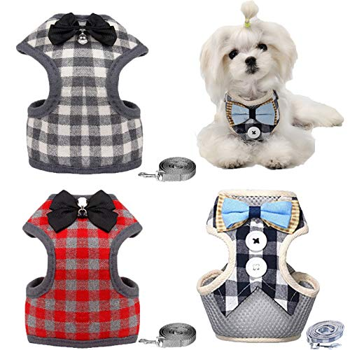 Dog Harness, 3 Pcs Dog Harnesses for Small Dogs, Puppy Harness and Leash Set, Cute Plaid Harness with Bowtie for Small Dogs and Cats