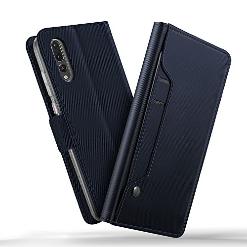 Huawei P20 Pro case, KuGi Huawei P20 Pro case, Ultra-Thin DD Style PU Cover + TPU Back Stand Case for Huawei P20 Pro Smartphone(Navy)