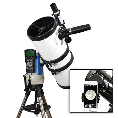 TwinStar White 6' iOptron Computer Controlled Reflector Telescope with Universal Smartphone Camera Adapter