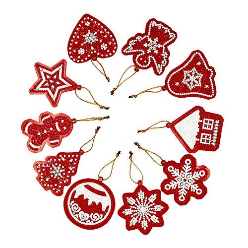 Seawang 10Stk. Weihnachten DIY Vollbohrer 5D Diamant Malerei Weihnachtsdeko Weihnachtsbaum Anhänger Deko Geschenk (01)