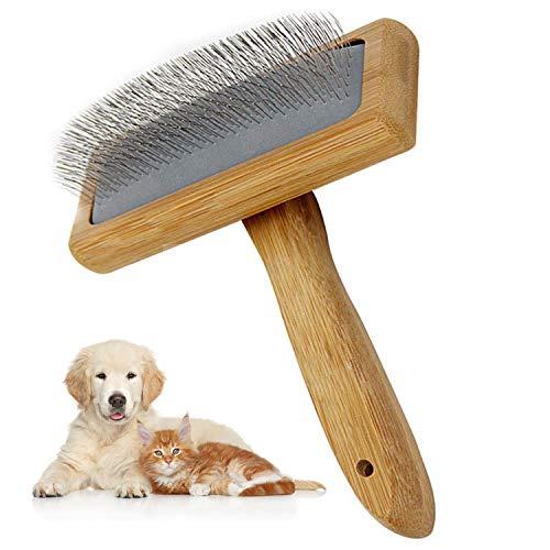 Aidiyapet Pinceles para perros, cepillo para perros para pelo largo, herramientas de aseo de mascotas, cepillo largo con mango antideslizante, apto para perros de pelo medio y largo