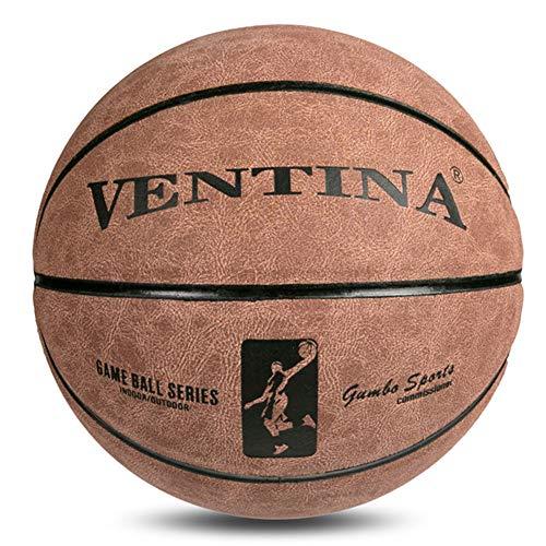 WLM Cowhide No. 7 Baloncesto, Cowhide Tiene una Buena Elasticidad, Resistente al Desgaste, Antideslizante, al Aire Libre y el Baloncesto de Cemento Interior