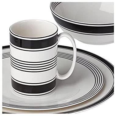 kate spade new york Concord Square Dinnerware 4-Piece Place Setting, Black and White Porcelain