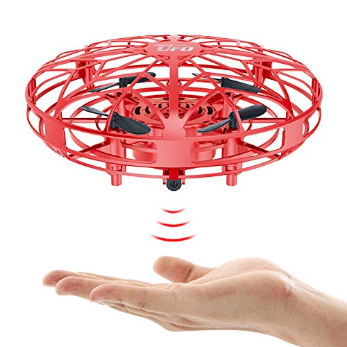 UFO Drone 2.4G 4CH RC Helicopter Quadcopter Toys for Boys or Girls Flying Toys Drones with 2 Speed and LED Light for Kids & Adults Hand Controlled Blue Flying Ball Drone with 360° Rotation (Red)