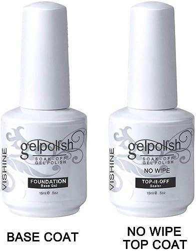 Vishine 15ml No Wipe Top Coat Base Coat Gel Nail Polish Soak Off UV LED Drying Long Lasting Shiny Nail Varnish Set product image