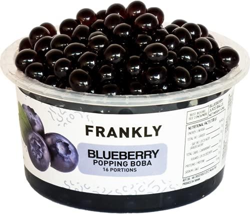 FRANKLY Popping Boba ai Mirtilli, barattolo da 490gr - Per Bubble Tea, Yogurt, Torte e Dolci