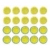 tellaLuna 20 Piezas de 2 Pulgadas de Rodajas de LimóN Artificial, SimulacióN de Fruta Falsa Decorativa Adorno de Boda DecoracióN de Festival Accesorios de FotografíA