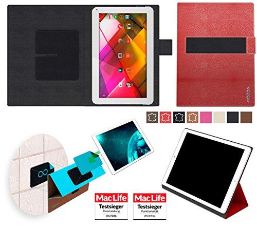 Hülle für Archos 101 Copper Tasche Cover Case Bumper | in Rot Leder | Testsieger