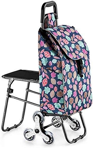 Einkaufstrolley,Treppensteigen-Einkaufswagen mit Hockern, zusammenklappbarem tragbarem Kristallrad aus Edelstahl, hohe Belastbarkeit, für Eltern und Senioren geeignet, für Einkaufstouren (Farbe: A)