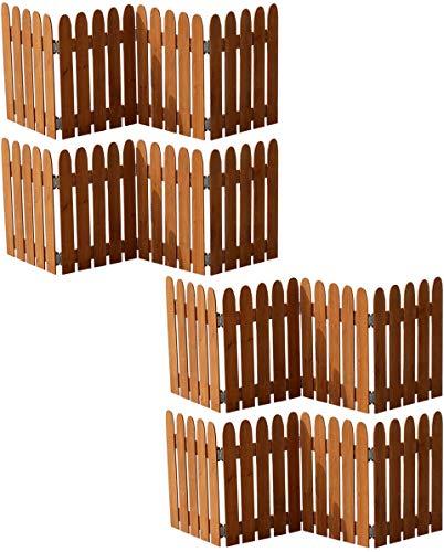 ミニフェンス 折りたたみ ガーデンフェンス ライトブラウン 4枚セット 木製 幅121 奥行1.5 高さ44 おしゃれ シンプル ガーデン仕切り 目隠し 飛び出し防止 進入禁止 イベント用 (ライトブラウン, 4枚組)