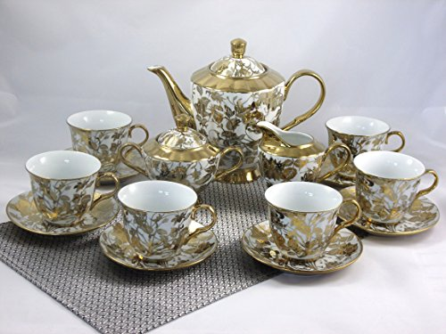 17-TLG Porzellan Teeservice Kaffeeservice Goldserie