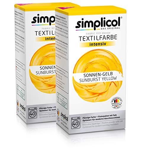 Simplicol Textilfarbe intensiv (18 Farben), Sonnen-Gelb 1801 2er Pack: Einfaches Färben in der Waschmaschine, All-in-1 Komplettpackung