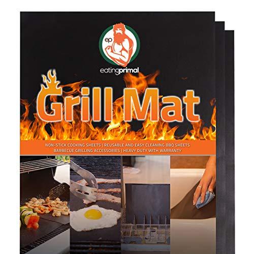 Eating Primal Innovative Erreicht Grill Matte   BBQ und Grillen Mats   antihaftbeschichtet Heavy Duty Grill Zubehör   Wiederverwendbar Leicht zu Reinigen Spülmaschinenfest