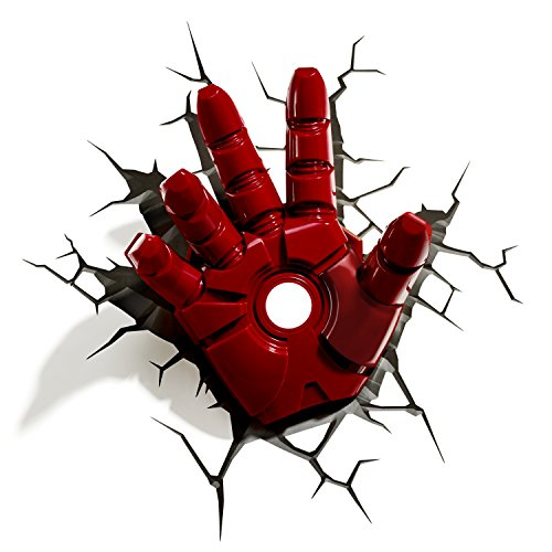 3D Light FX 816733840598 Marvel Iron Man 3D-Nachtlicht, Design: Hand, Rot