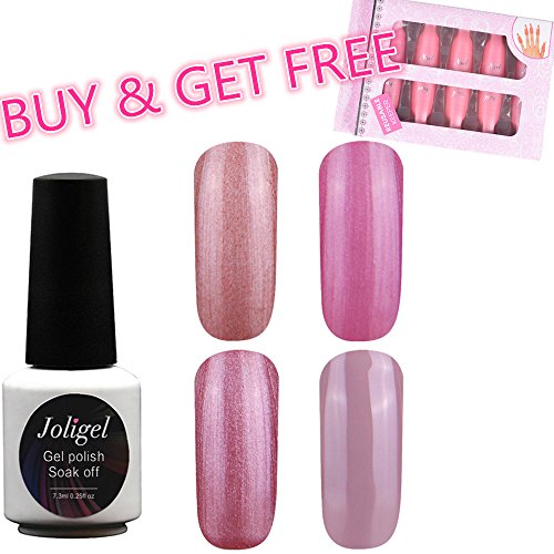 Joligel Lot de 4 vernis gel semi-permanents Gel à ongles avec 10 clips de dépose réutilisables Manucure UV LED Soak Off 01