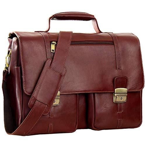 STILORD stylische Umhängetasche Aktentasche Handtasche mit Schloss und 15,6 Zoll Laptopfach aus Leder Cognac Braun/Rot