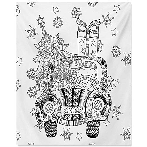 ScottDecor Christmas Canvas Art Abstract Car with Big Tree Ornaments Gift Box Stars Snowflakes Artsy Print Bedroom Paintings Wall Decor Black and White 24x32