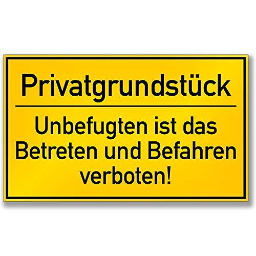 KAVARO Schild Privatgrundstück Unbefugten ist das Betreten und Befahren verboten (25x15cm) Hartschaumplatte