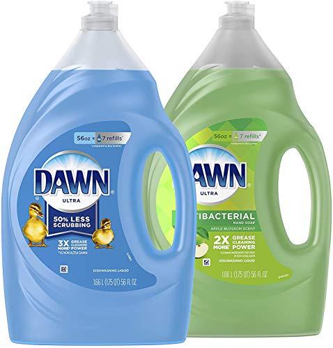 Ultra Dishwashing Liquid Dish Soap Original Scent & Ultra Antibacterial Hand Soap, Dishwashing Liquid Dish Soap Apple Blossom 56 fl Ounce 2 Count